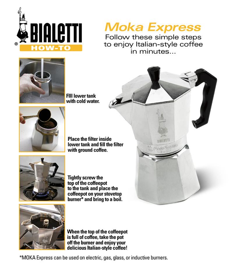 طرز تهیهی قهوه با استفاده از موکا اکسپرس بیالتی