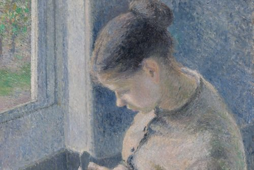 دهقان جوان قهوه مینوشد اثر کامیل پیسارو (1881)