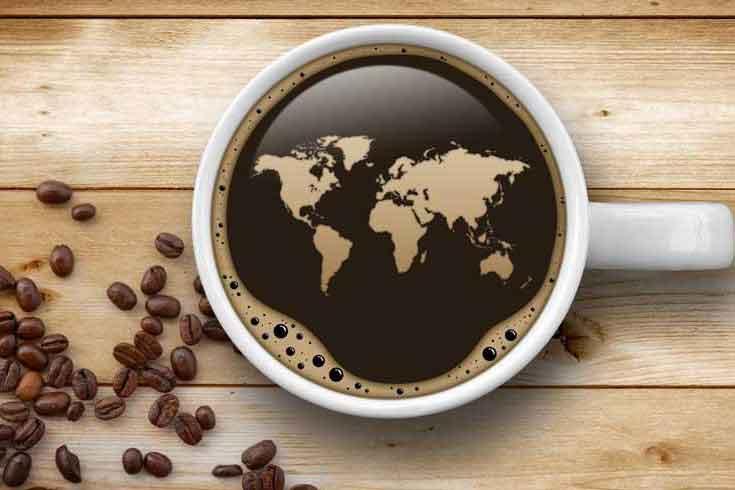 نقشه جهان در فنجان قهوه
