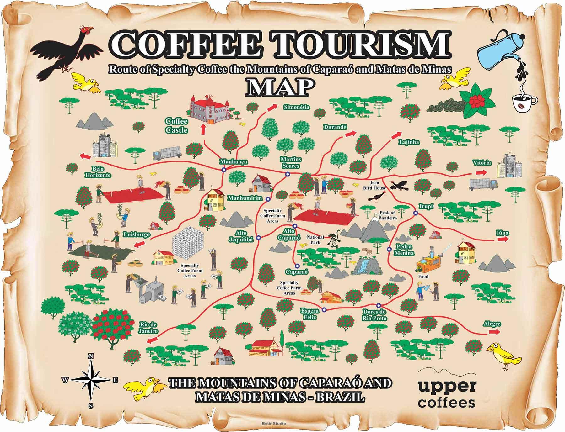 نقشه گردشگری قهوه در کوهستانها