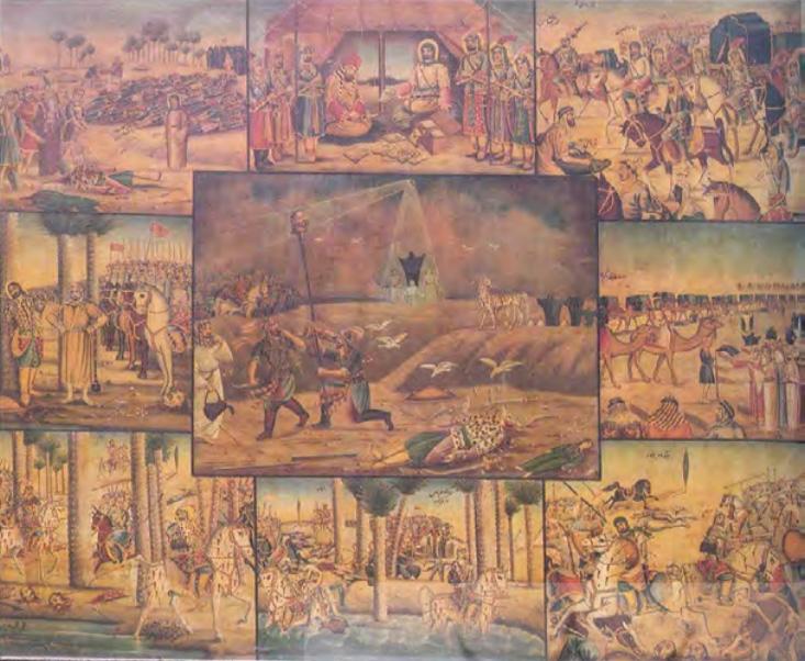 نقاشی قهوهخانهای (مصیبت کربلا – گودال قتلگاه) (سیف، ۱۳۶۹: ۱۰۷)